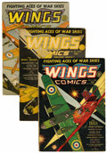 Golden Age (1938-1955):War, Wings Comics #6, 10, and 12 Group (Fiction House, 1941) Condition:Average VG-.... (Total: 3 Comic Books)