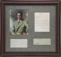 Golf Collectibles:Autographs, 1957 Bobby Jones Signed Check & Letter Display....