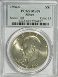 Eisenhower Dollars: , 1976-S $1 Silver MS68 PCGS. PCGS Population (342/0). NGC Census: (58/0). Mintage: 11,000,000. Numismedia Wsl. Price for NGC...