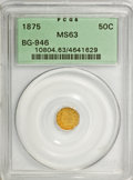 California Fractional Gold: , 1875 50C Indian Octagonal 50 Cents, BG-946, R.4, MS63 PCGS. PCGSPopulation (18/20). NGC Census: (6/4). (#10804). From ...
