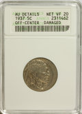 Errors, 1937 5C Nickel--Off-Center, Damaged--ANACS. AU Details. Net VF20.. From The Victoria Collection....