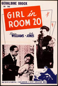 "Movie Posters:Black Films, The Girl in Room 20 (Astor Pictures, 1946). One Sheet (27"" X 41""). Black Films.. ..."