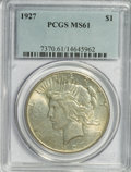 Peace Dollars: , 1927 $1 MS61 PCGS. PCGS Population (191/4537). NGC Census:(258/2785). Mintage: 848,000. Numismedia Wsl. Price for NGC/PCGS...