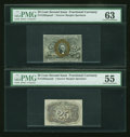 Fractional Currency:Second Issue, Fr. 1283SP 25c Second Issue Narrow Margin Pair PMG Choice Uncirculated 63/About Uncirculated 55.... (Total: 2 notes)