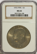 Eisenhower Dollars, 1972 $1 Type One MS65 NGC. NGC Census: (784/18). PCGS Population (366/16). Mintage: 75,890,000. Numismedia Wsl. Price for N...