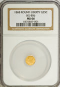 California Fractional Gold: , 1868 25C Liberty Round 25 Cents, BG-806, R.3, MS66 NGC. NGC Census:(11/1). PCGS Population (14/1). (#10667)...