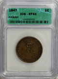 Coins of Hawaii: , 1847 1C Hawaii Cent XF40 ICG. NGC Census: (0/31). PCGS Population(0/105). Mintage: 100,000. (#10966)...
