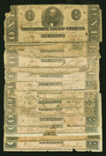 Confederate Notes:1862 Issues, Confederate $1 Notes Fair or Better.. ... (Total: 14 notes)