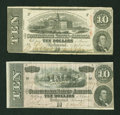 Confederate Notes:1863 Issues, Two Different Confederate $10s.. ... (Total: 2 notes)