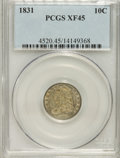 Bust Dimes: , 1831 10C XF45 PCGS. PCGS Population (14/213). NGC Census: (8/229).Mintage: 771,350. Numismedia Wsl. Price for NGC/PCGS coi...