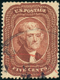 Stamps, 5c Bright Red Brown, Type I (28b),... (Total: 1 Slab)