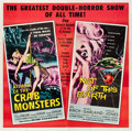 "Movie Posters:Science Fiction, Attack of the Crab Monsters/Not of this Earth Combo (AlliedArtists, 1957). Six Sheet (81"" X 81"").. ..."