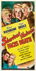 "Movie Posters:Mystery, Sherlock Holmes Faces Death (Universal, 1943). Three Sheet (41"" X81"").. ..."