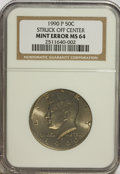 Errors, 1990-P 50C Half Dollar--Struck Off-Center--MS64 NGC.. From TheVictoria Collection....