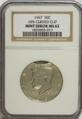 Errors, 1967 50C Half Dollar--10% Curved Clip--MS62 NGC.. From TheVictoria Collection....