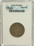 Seated Quarters: , 1868 25C --Cleaned--ANACS. AU53 Details. NGC Census: (1/23). PCGSPopulation (2/27). Mintage: 29,400. Numismedia Wsl. Price ...
