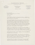 Autographs:Photos, 1941 Bobby Jones Signed Typed Letter. ...
