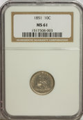 Seated Dimes: , 1851 10C MS61 NGC. NGC Census: (6/30). PCGS Population (0/23).Mintage: 1,026,500. Numismedia Wsl. Price for NGC/PCGS coin ...