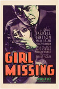 "Movie Posters:Mystery, Girl Missing (Warner Brothers, 1933). One Sheet (27"" X 41"").. ..."