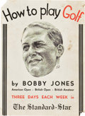 """Movie Posters:Sports, Bobby Jones' How to Play Golf (The Standard Star, 1931). Window Card (14"""" X 19.25"""").. ..."""