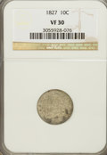 Bust Dimes: , 1827 10C VF30 NGC. NGC Census: (7/223). PCGS Population (8/239).Mintage: 1,300,000. Numismedia Wsl. Price for NGC/PCGS coi...