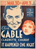 """Movie Posters:Comedy, It Happened One Night (Columbia, 1934). Two Sheet (40"""" X 54"""").. ..."""