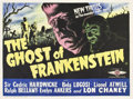 "Movie Posters:Horror, The Ghost of Frankenstein (Eros, R-1950s). British Quad (30"" X40"").. ..."