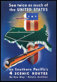"Travel Poster (Southern Pacific, 1938). Poster (15.75"" X 22.75""). Railroad"