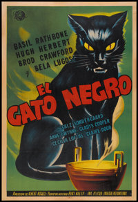 "The Black Cat (Universal, 1941). Argentinean Poster (29"" X 43""). Mystery"