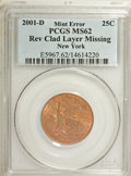 Errors, 2001-D 25C Statehood Quarter New York Rev Clad Layer Missing MS62PCGS....
