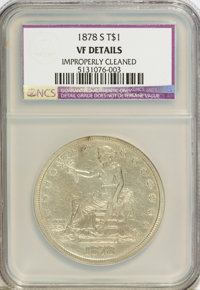 1878-S T$1 --Improperly Cleaned--NCS. VF20 Details. NGC Census: (6/598). PCGS Population (4/838). Mintage: 4,162,000. Nu...