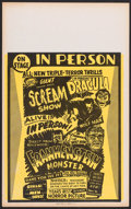 "Movie Posters:Horror, Horror Festival (Unknown, 1960s). Window Card (14"" X 22""). Horror.. ..."