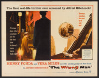 "The Wrong Man (Warner Brothers, 1957). Half Sheet (22"" X 28""). Hitchcock"