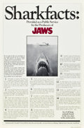 "Movie Posters:Horror, Jaws (Universal, 1975). One Sheet (27"" X 41"") Shark Facts Style....."