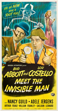 "Abbott and Costello Meet the Invisible Man (Universal International, 1951). Three Sheet (41"" X 81"")"