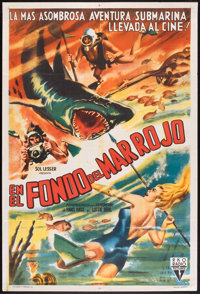 """Under the Red Sea (RKO, 1952). Argentinean Poster (29"""" X 43""""). Documentary"""