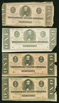 Confederate Notes:Group Lots, T62 $1 1863.. T71 $1 1864. Three Examples.. ... (Total: 4 notes)