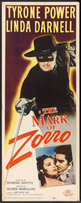 "The Mark of Zorro (20th Century Fox, R-1958). Insert (14"" X 36""). Swashbuckler"