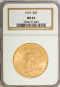 Saint-Gaudens Double Eagles: , 1910 $20 MS63 NGC. NGC Census: (2021/873). PCGS Population(1871/1198). Mintage: 482,000. Numismedia Wsl. Price for NGC/PCG...