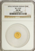 California Fractional Gold: , 1876/5 50C Indian Round 50 Cents, BG-1059, R.4, AU58 NGC. NGCCensus: (0/11). PCGS Population (18/69). (#10888)...