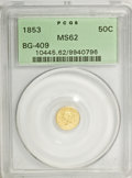 California Fractional Gold: , 1853 50C Liberty Round 50 Cents, BG-409, R.3, MS62 PCGS. PCGSPopulation (35/26). NGC Census: (7/5). (#10445). From The...