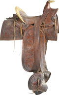 Western Expansion:Cowboy, Most Rare, Incredible Condition California Half Seat Saddle by S.C. Foy, Los Angeles, Circa 1870....