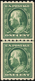 Stamps, 1c Green, Vertical Coil, Perf. 8½ (390),...