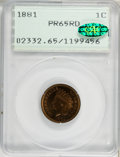 Proof Indian Cents, 1881 1C PR65 Red PCGS. CAC....