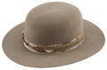 """Western Expansion:Cowboy, Cowboy Hat: Boss of the Plains Style Hat. This wool felt hatwith a 4½"""" crown and a 3"""" flat stiff brim has a gro..."""