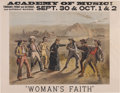 "Advertising:Paper Items, Advertising: Nineteenth Century Color Lithographic Poster forWoman's Faith, a Melodrama. 27¼"" x 21½"". The poste..."