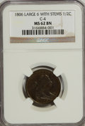 Half Cents, 1806 1/2 C Large 6, Stems MS62 Brown NGC....