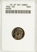 Proof Roosevelt Dimes, 1962 10C PR67 Heavy Cameo ANACS. NGC Census: (165/357). PCGSPopulation (196/253). Numismedia Wsl. Price for NGC/PCGS coin...
