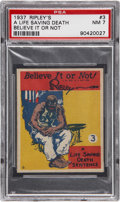Non-Sport Cards:Singles (Pre-1950), 1937 Wolverine Gum Ripley's Believe It or Not #3 PSA NM 7 - Pop1-of-2 With None Higher!...