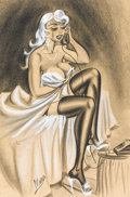 "Pin-up and Glamour Art, BILL WARD (American, 1919-1998). ""I Am as Ready as I Plan to Be,Honey"", cartoon illustration, 1959. Charcoal pencil on ..."